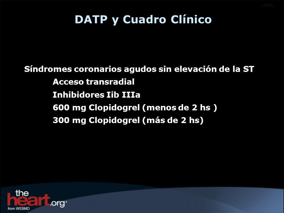 DATP y Cuadro Clínico Síndromes coronarios agudos sin elevación de la ST. Acceso transradial. Inhibidores Iib IIIa.