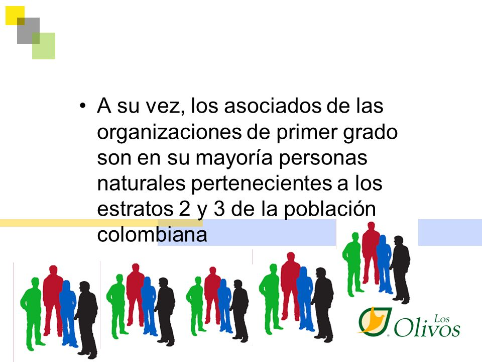 A su vez, los asociados de las organizaciones de primer grado son en su mayoría personas naturales pertenecientes a los estratos 2 y 3 de la población colombiana