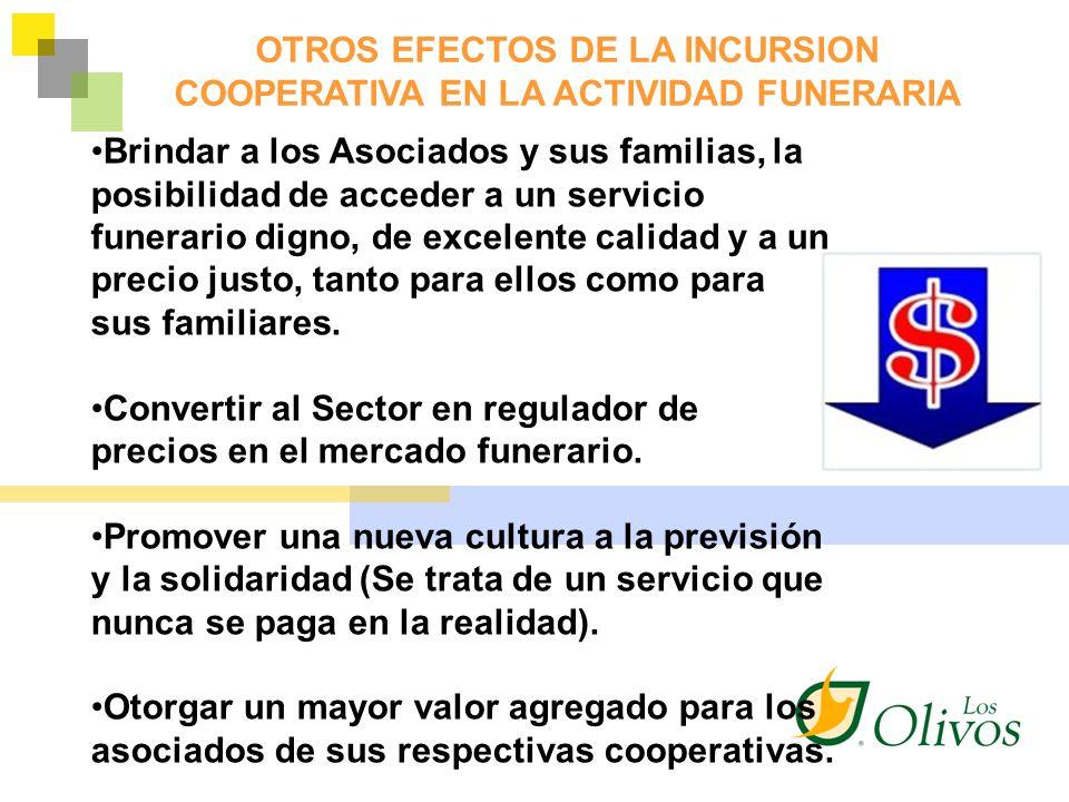 OTROS EFECTOS DE LA INCURSION COOPERATIVA EN LA ACTIVIDAD FUNERARIA