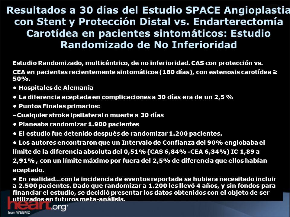 Resultados a 30 días del Estudio SPACE Angioplastia con Stent y Protección Distal vs. Endarterectomía Carotídea en pacientes sintomáticos: Estudio Randomizado de No Inferioridad