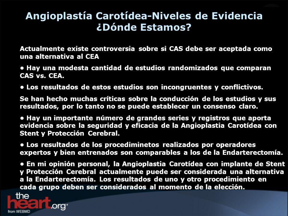 Angioplastía Carotídea-Niveles de Evidencia ¿Dónde Estamos