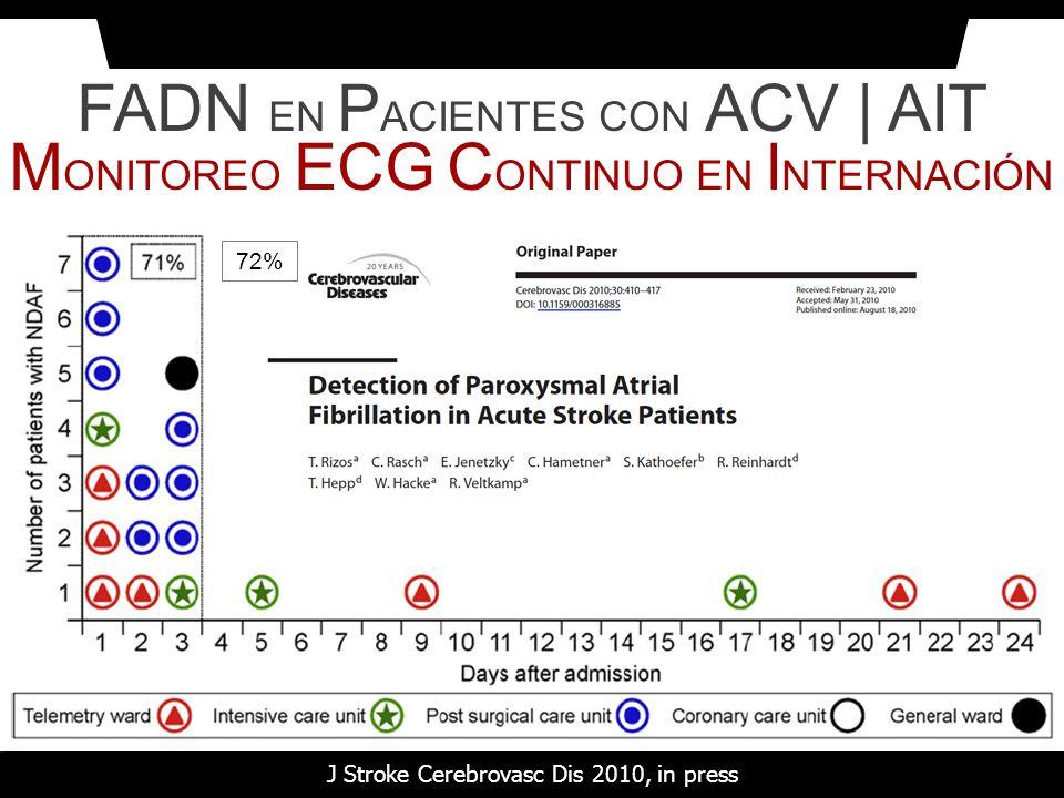 FADN EN PACIENTES CON ACV | AIT MONITOREO ECG CONTINUO EN INTERNACIÓN