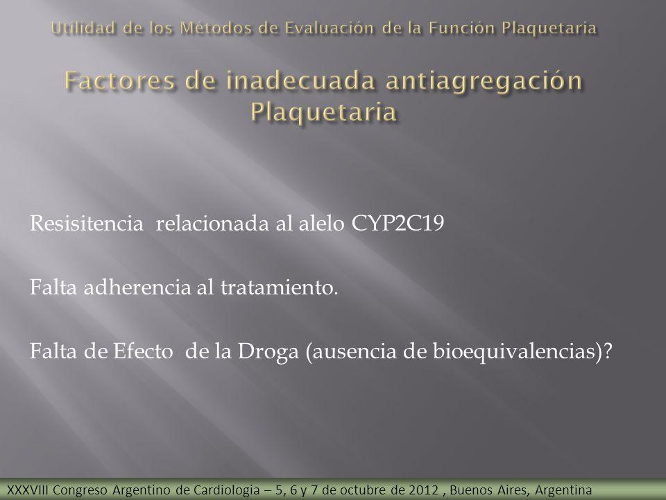Utilidad de los Métodos de Evaluación de la Función Plaquetaria Factores de inadecuada antiagregación Plaquetaria