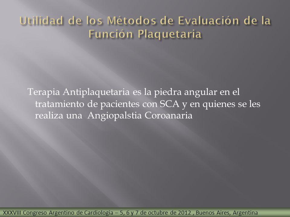 Utilidad de los Métodos de Evaluación de la Función Plaquetaria