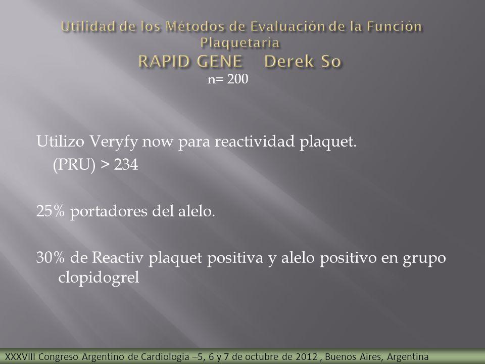 n= 200 Utilizo Veryfy now para reactividad plaquet. (PRU) > 234