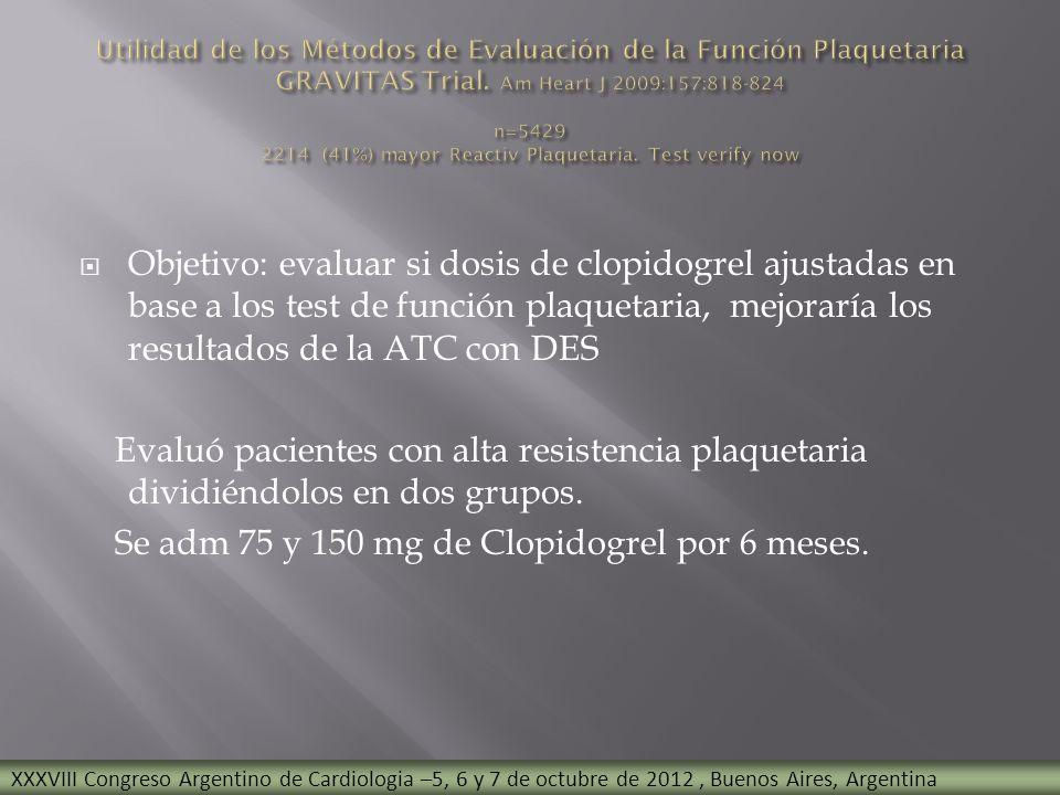 Se adm 75 y 150 mg de Clopidogrel por 6 meses.