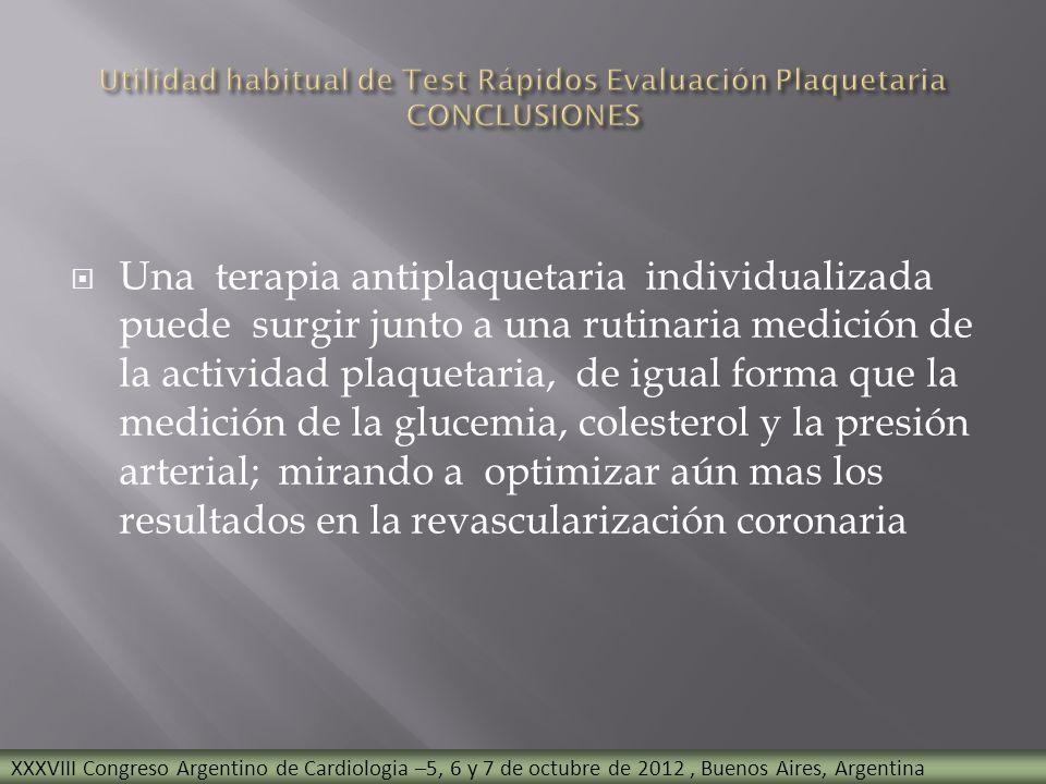 Utilidad habitual de Test Rápidos Evaluación Plaquetaria CONCLUSIONES