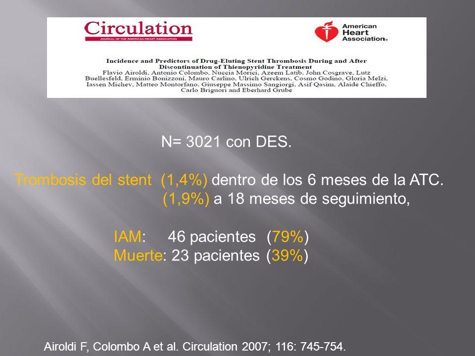 Trombosis del stent (1,4%) dentro de los 6 meses de la ATC.