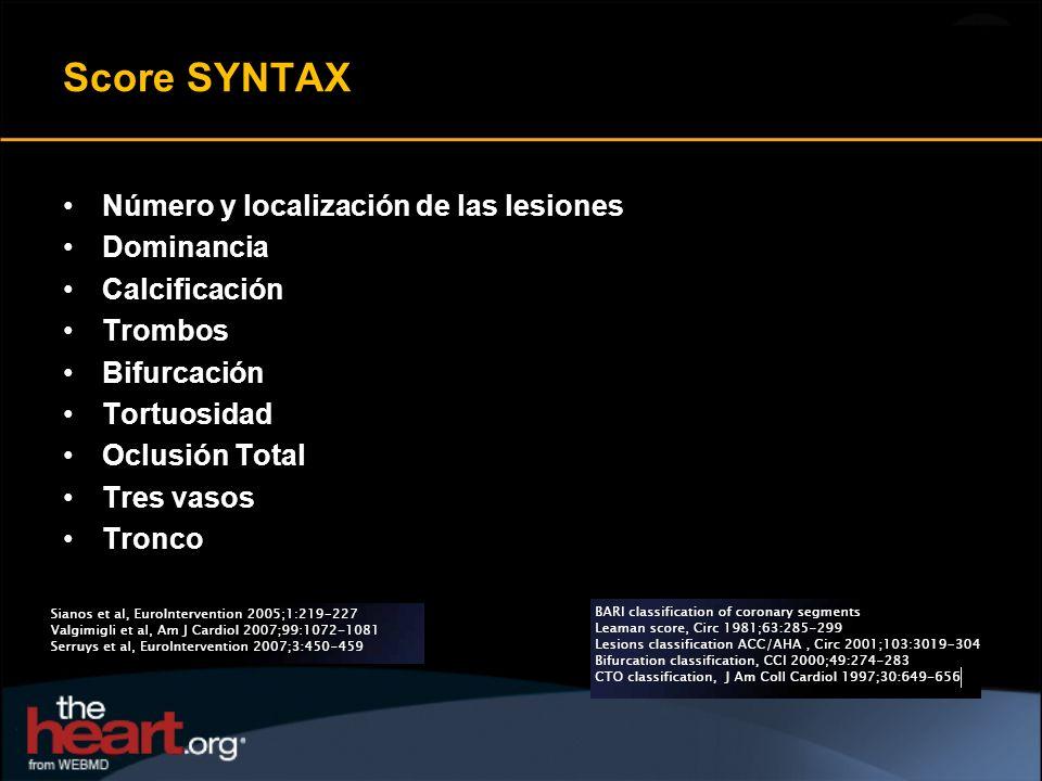 Score SYNTAX Número y localización de las lesiones Dominancia