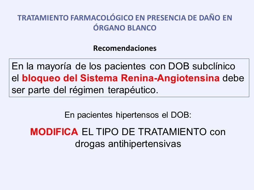 TRATAMIENTO FARMACOLÓGICO EN PRESENCIA DE DAÑO EN ÓRGANO BLANCO