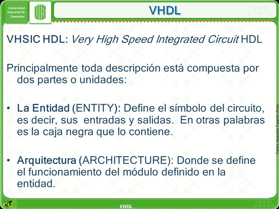 VHDL VHSIC HDL: Very High Speed Integrated Circuit HDL