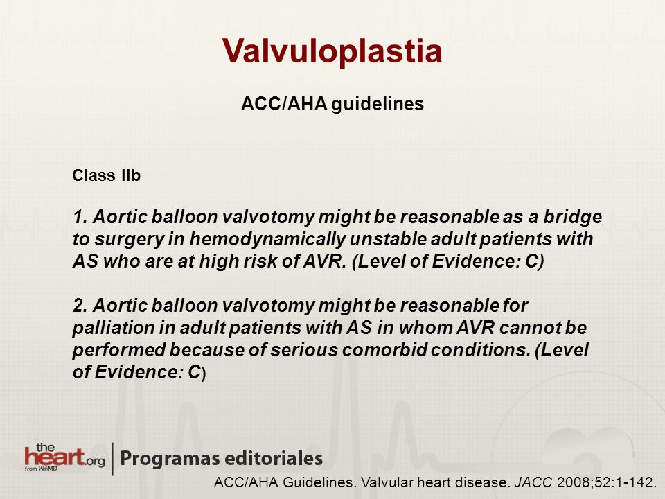 Valvuloplastia ACC/AHA guidelines