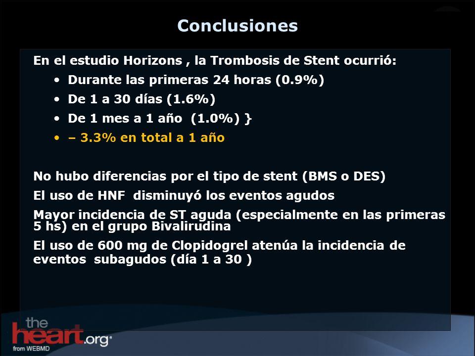 Conclusiones En el estudio Horizons , la Trombosis de Stent ocurrió: