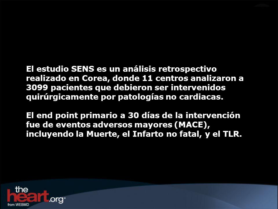 El estudio SENS es un análisis retrospectivo realizado en Corea, donde 11 centros analizaron a 3099 pacientes que debieron ser intervenidos quirúrgicamente por patologías no cardiacas.