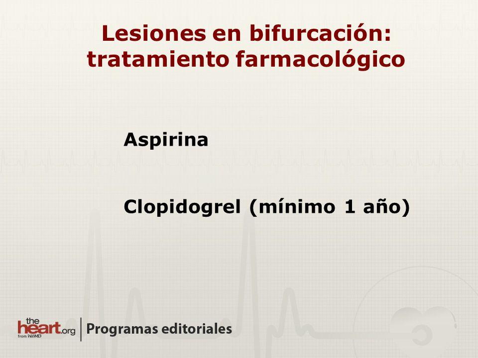 Lesiones en bifurcación: tratamiento farmacológico