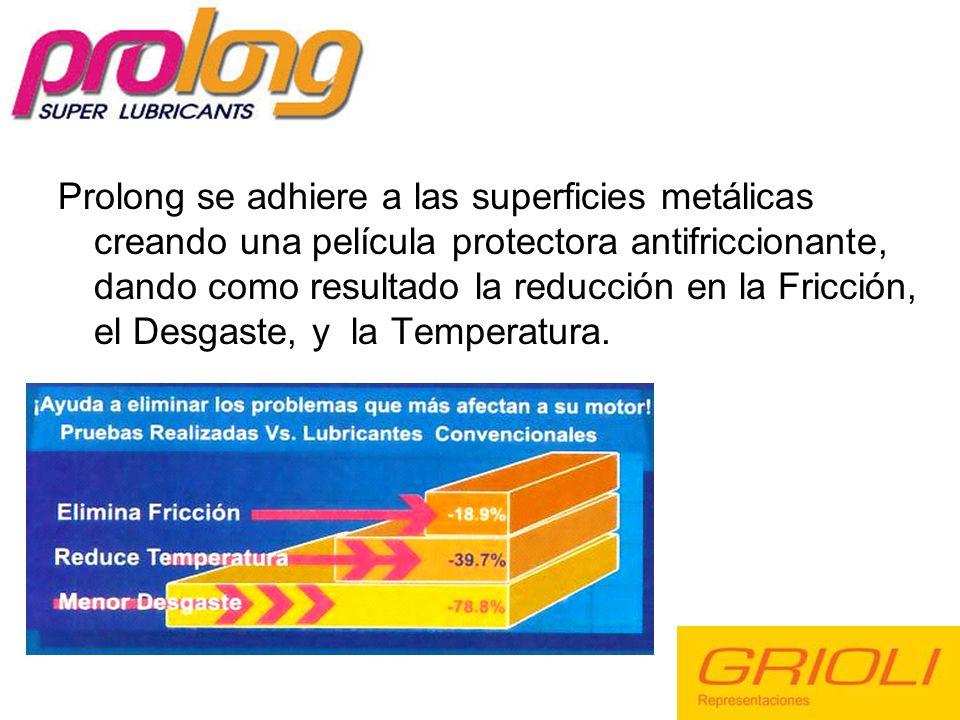 Prolong se adhiere a las superficies metálicas creando una película protectora antifriccionante, dando como resultado la reducción en la Fricción, el Desgaste, y la Temperatura.