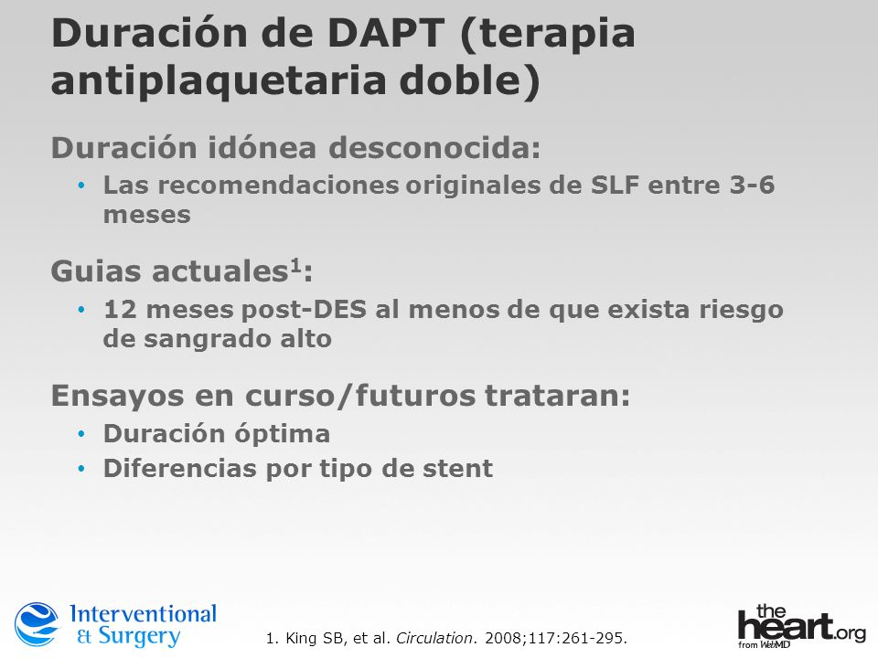 Duración de DAPT (terapia antiplaquetaria doble)