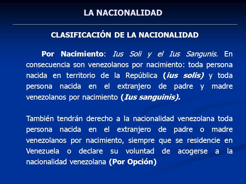 CLASIFICACIÓN DE LA NACIONALIDAD