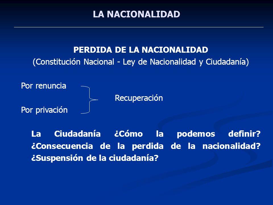 PERDIDA DE LA NACIONALIDAD