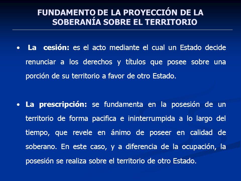 FUNDAMENTO DE LA PROYECCIÓN DE LA SOBERANÍA SOBRE EL TERRITORIO