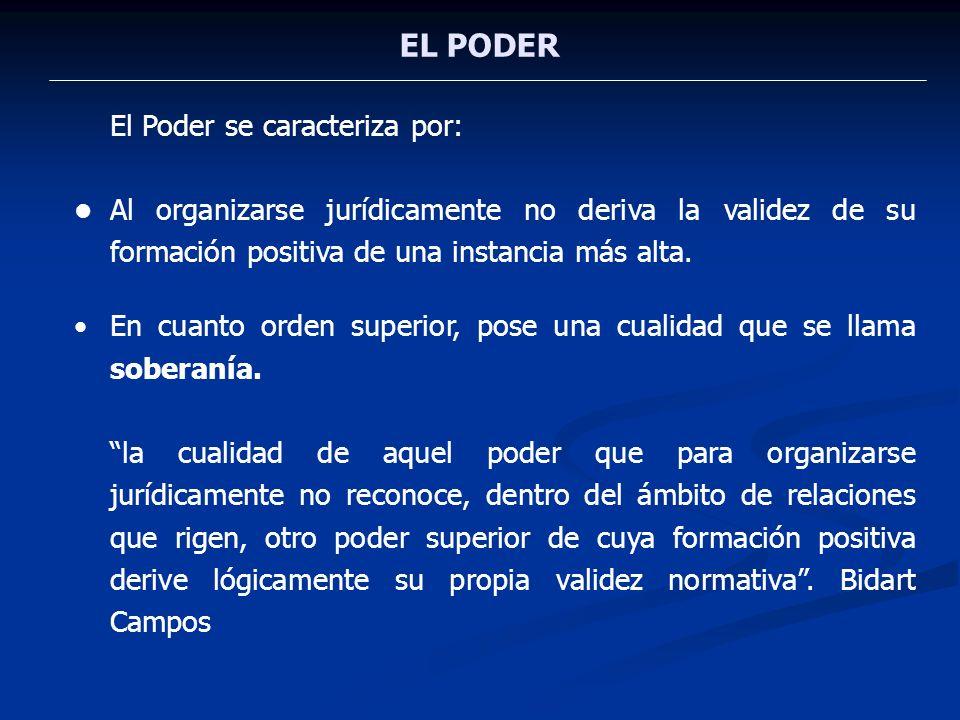 EL PODER El Poder se caracteriza por:
