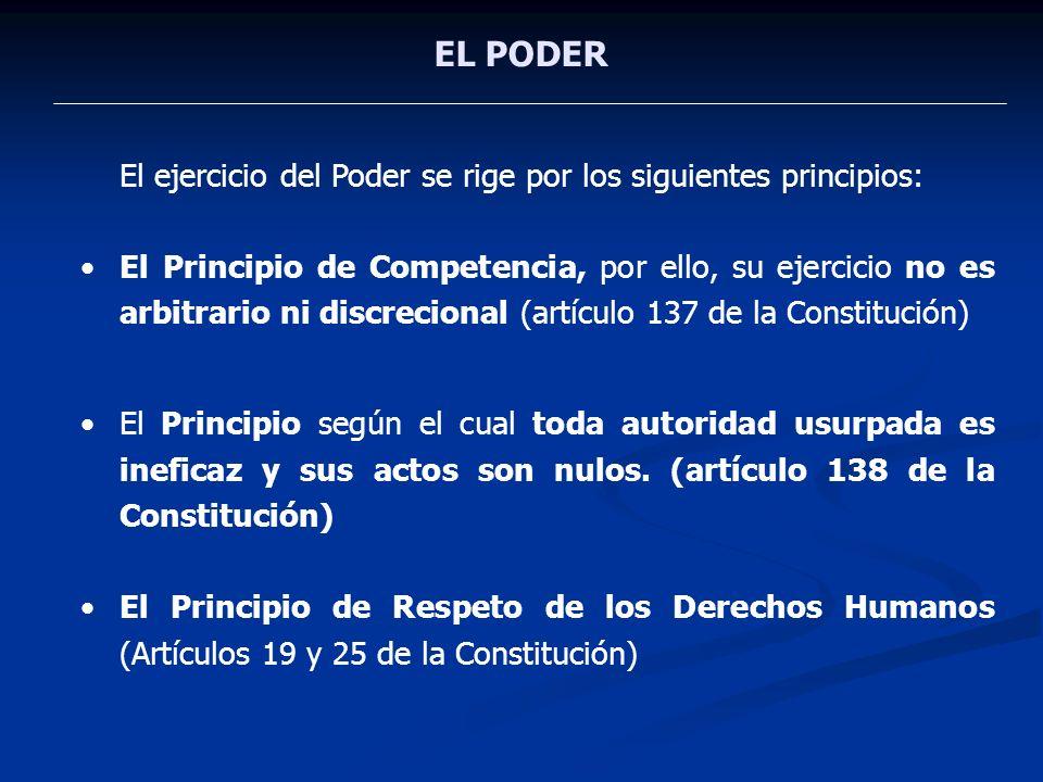 EL PODER El ejercicio del Poder se rige por los siguientes principios: