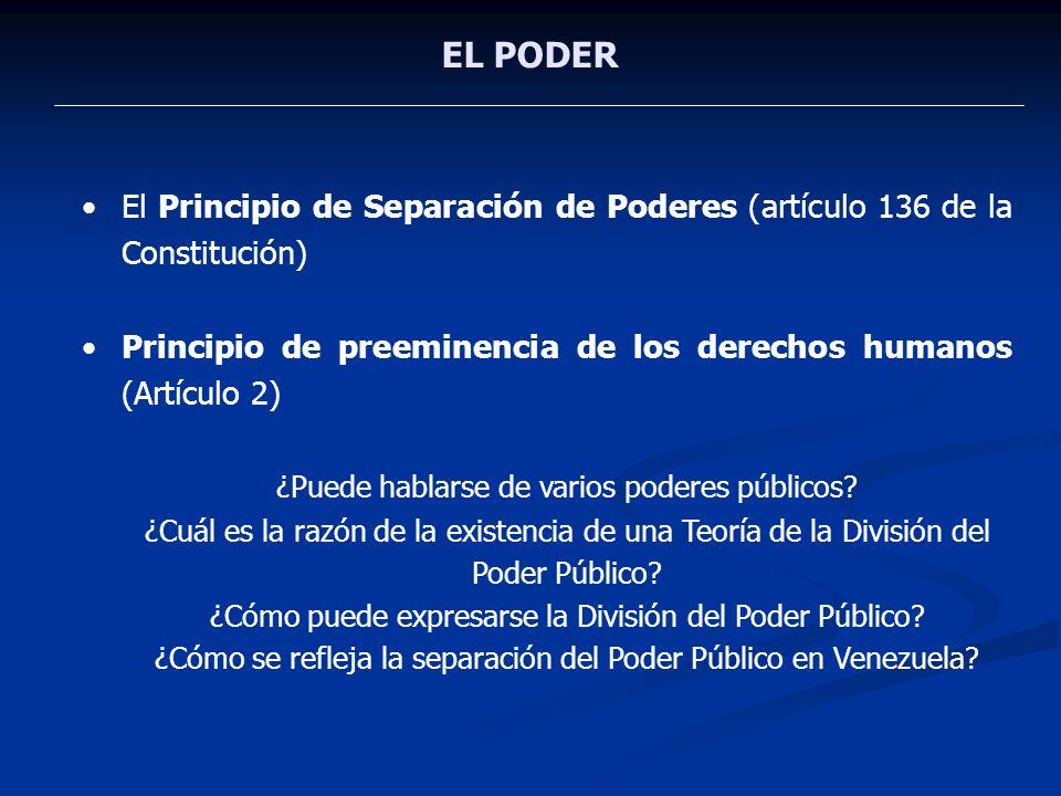 EL PODER El Principio de Separación de Poderes (artículo 136 de la Constitución) Principio de preeminencia de los derechos humanos (Artículo 2)