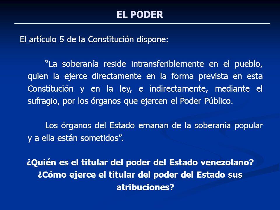 EL PODER El artículo 5 de la Constitución dispone: