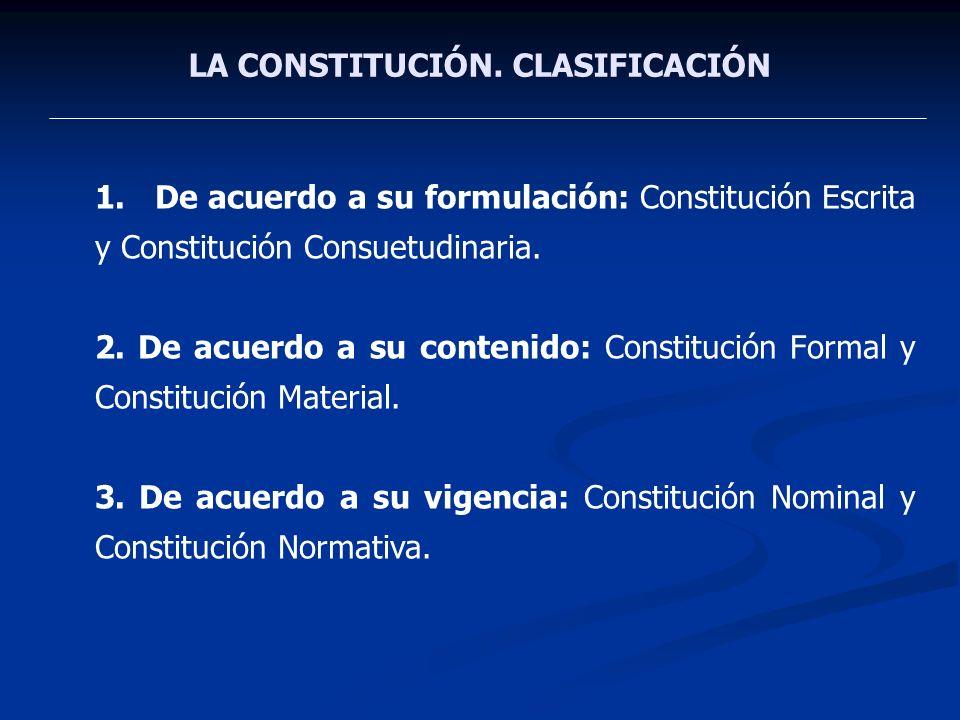 LA CONSTITUCIÓN. CLASIFICACIÓN