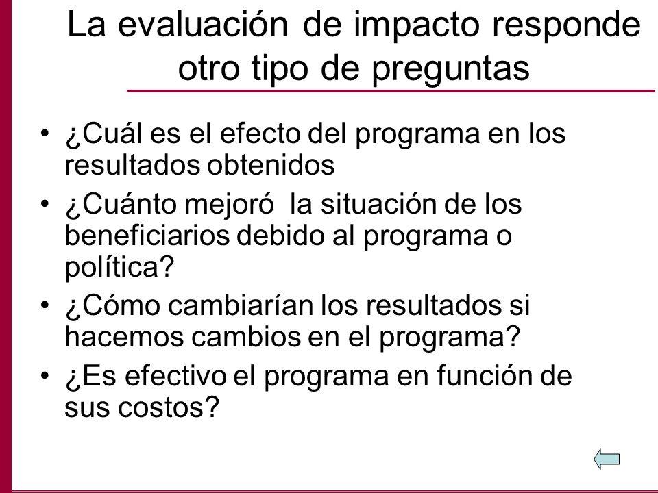 La evaluación de impacto responde otro tipo de preguntas