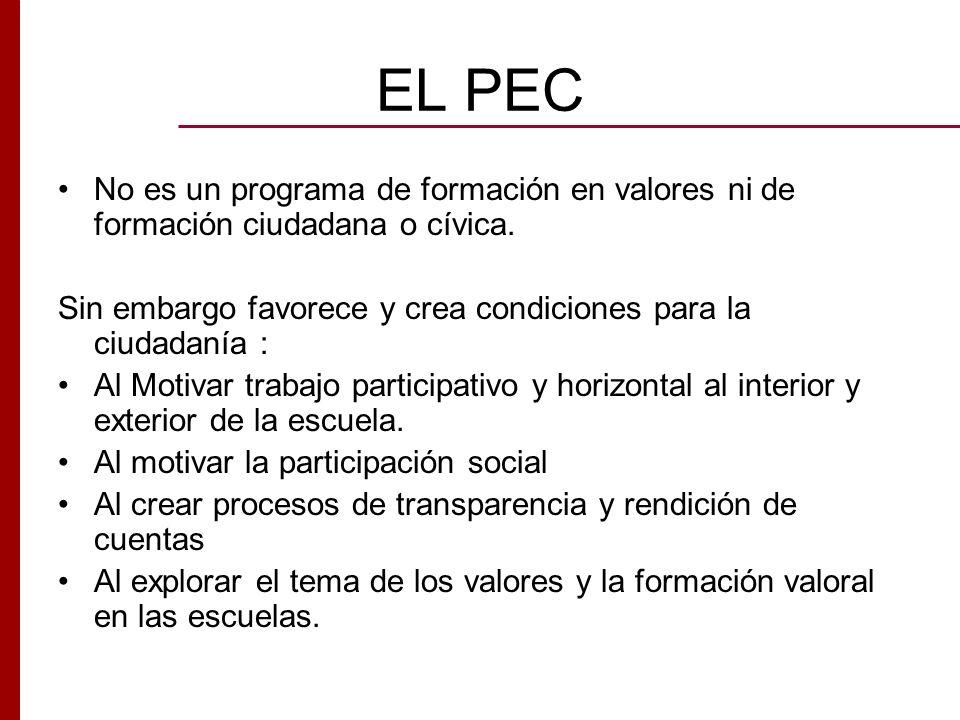 EL PEC No es un programa de formación en valores ni de formación ciudadana o cívica. Sin embargo favorece y crea condiciones para la ciudadanía :