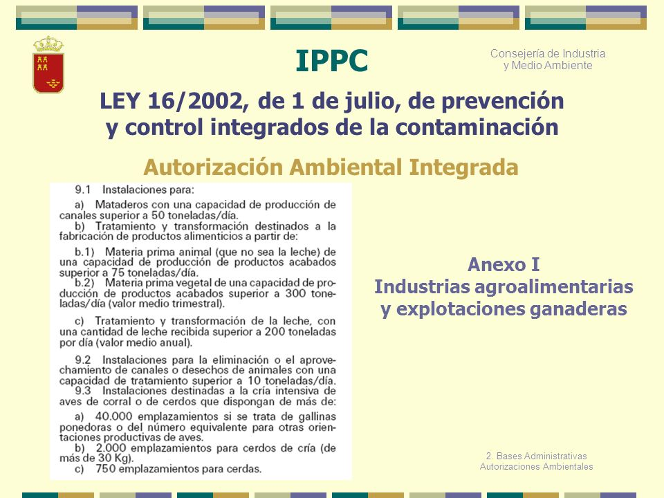 IPPC LEY 16/2002, de 1 de julio, de prevención