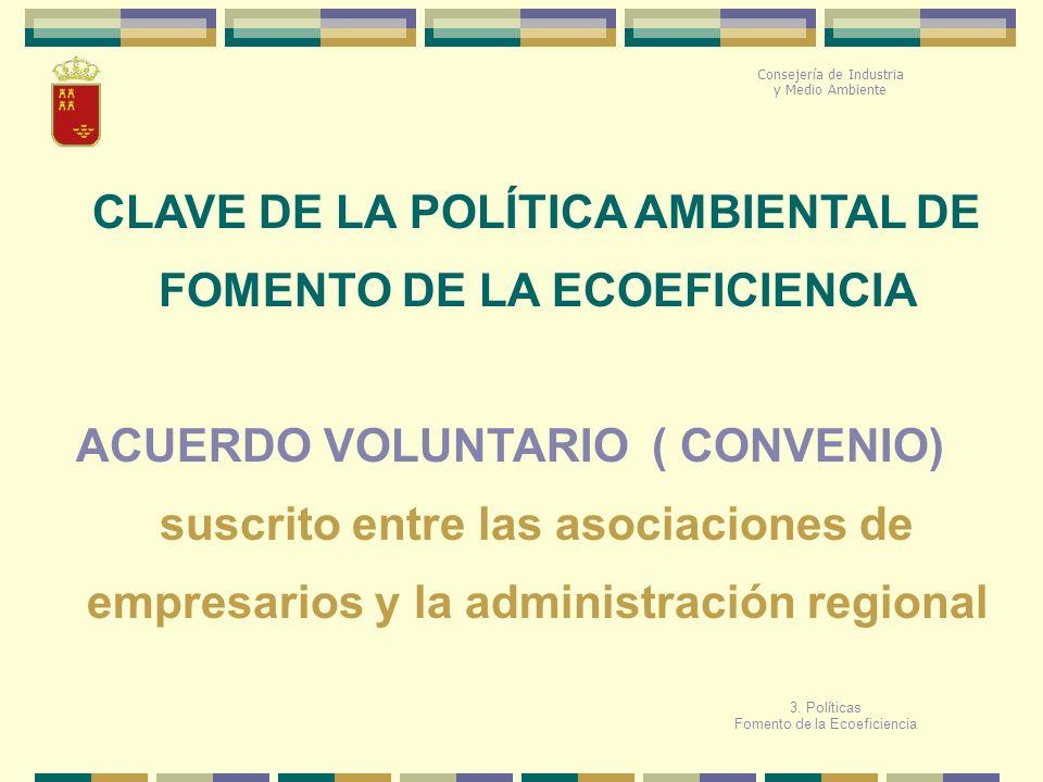 CLAVE DE LA POLÍTICA AMBIENTAL DE FOMENTO DE LA ECOEFICIENCIA