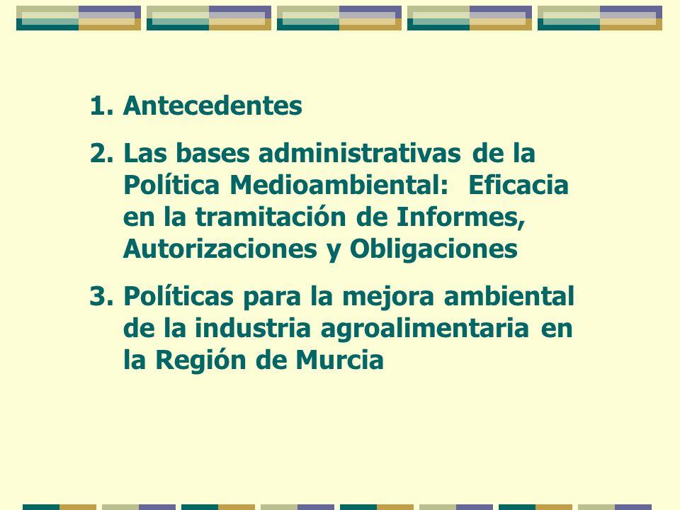 Antecedentes Las bases administrativas de la Política Medioambiental: Eficacia en la tramitación de Informes, Autorizaciones y Obligaciones.