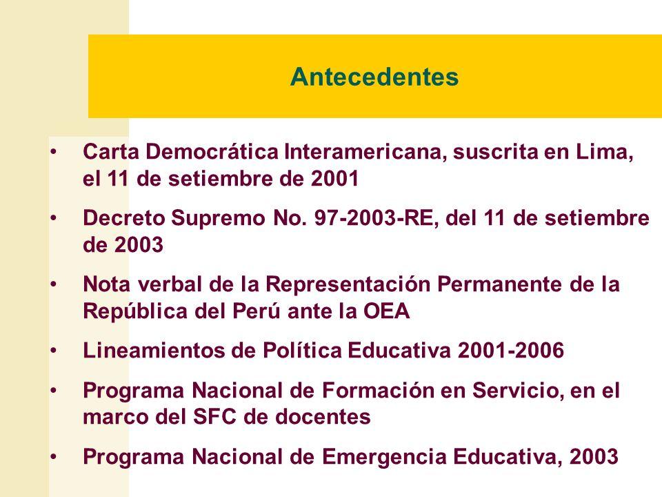 Antecedentes Carta Democrática Interamericana, suscrita en Lima, el 11 de setiembre de 2001.