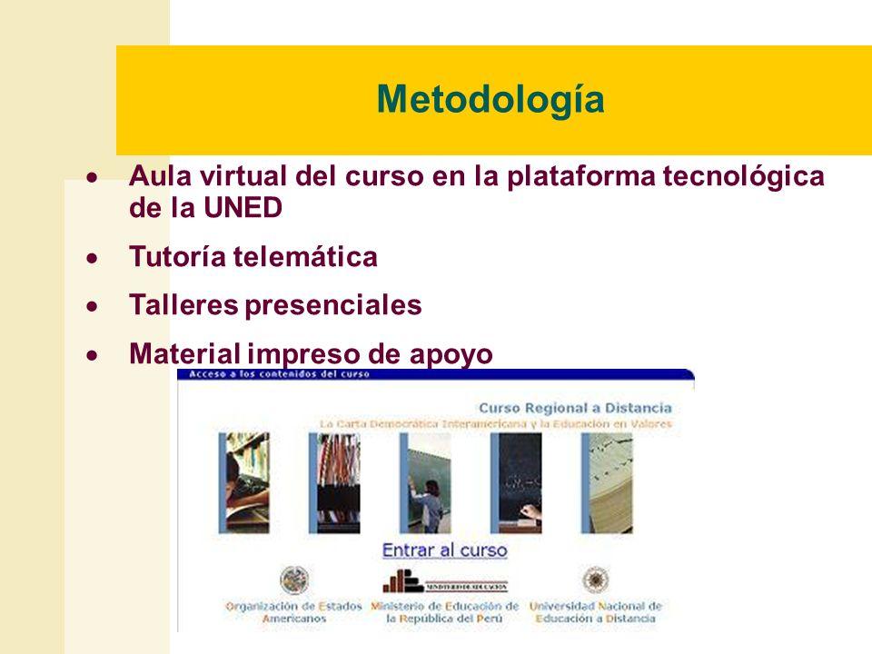 Metodología Aula virtual del curso en la plataforma tecnológica de la UNED. Tutoría telemática. Talleres presenciales.