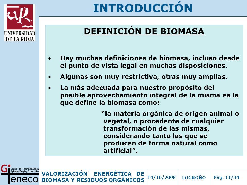 INTRODUCCIÓN DEFINICIÓN DE BIOMASA
