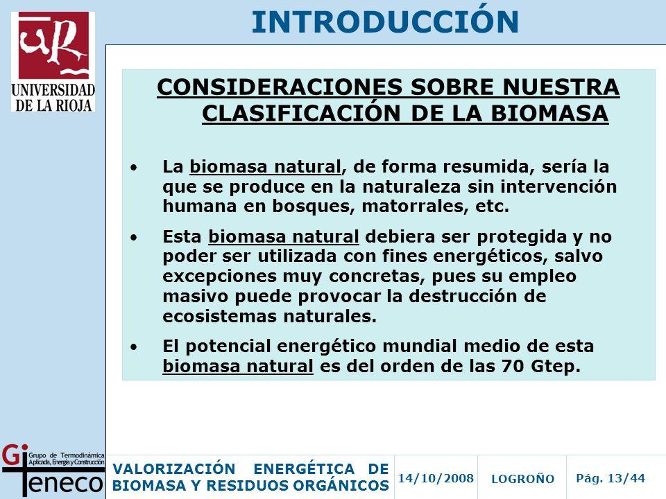 CONSIDERACIONES SOBRE NUESTRA CLASIFICACIÓN DE LA BIOMASA