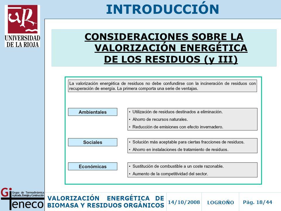 INTRODUCCIÓN CONSIDERACIONES SOBRE LA VALORIZACIÓN ENERGÉTICA DE LOS RESIDUOS (y III)
