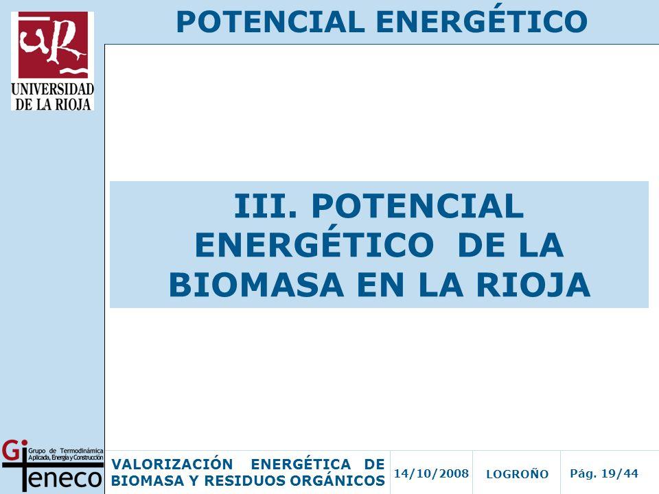 III. POTENCIAL ENERGÉTICO DE LA BIOMASA EN LA RIOJA