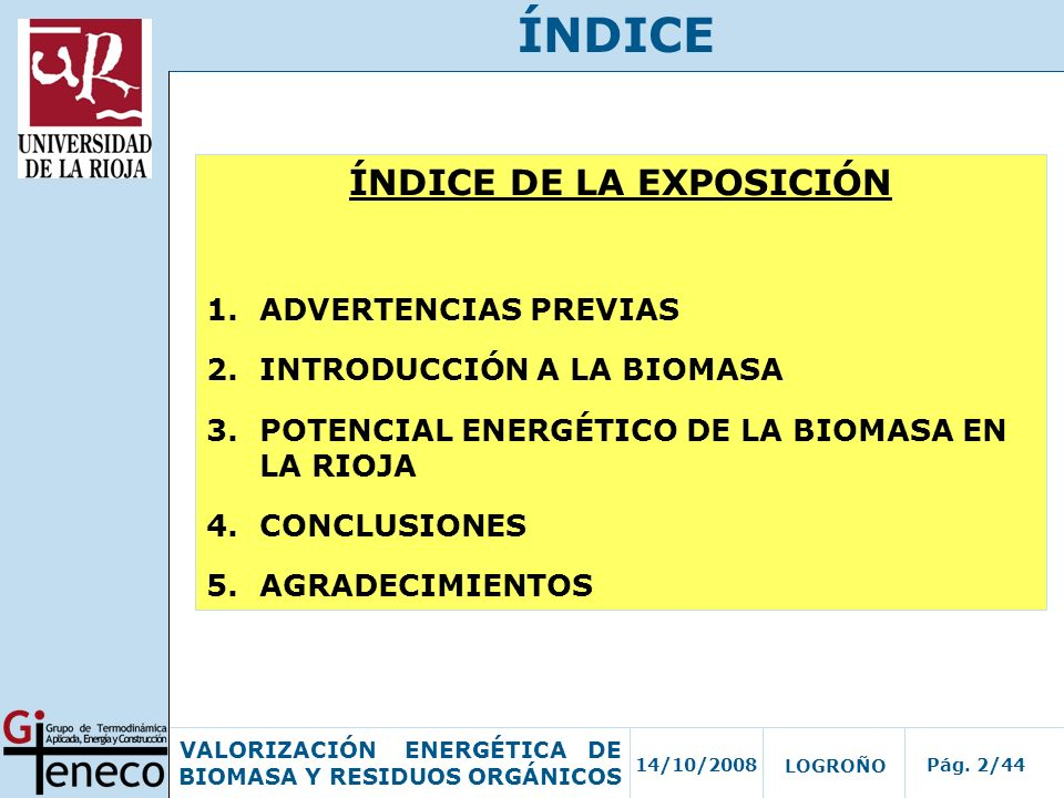 ÍNDICE DE LA EXPOSICIÓN
