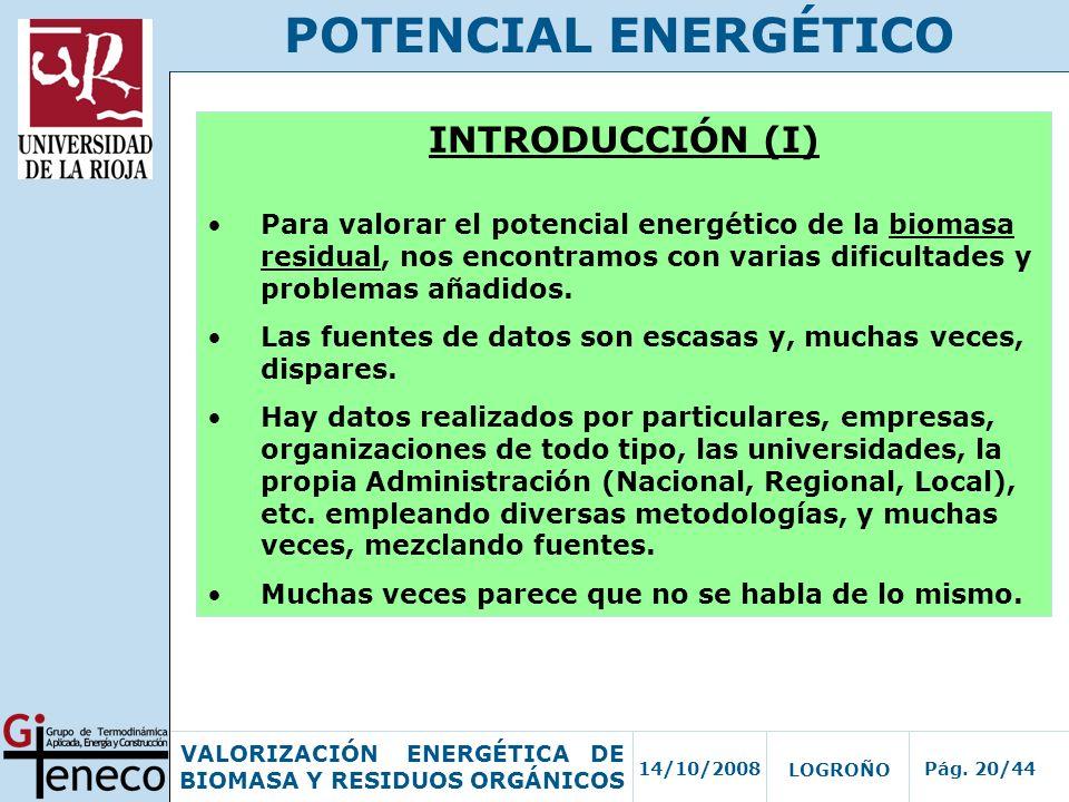 POTENCIAL ENERGÉTICO INTRODUCCIÓN (I)