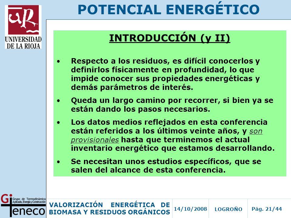 POTENCIAL ENERGÉTICO INTRODUCCIÓN (y II)