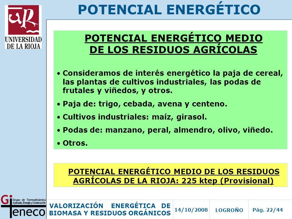 POTENCIAL ENERGÉTICO MEDIO DE LOS RESIDUOS AGRÍCOLAS