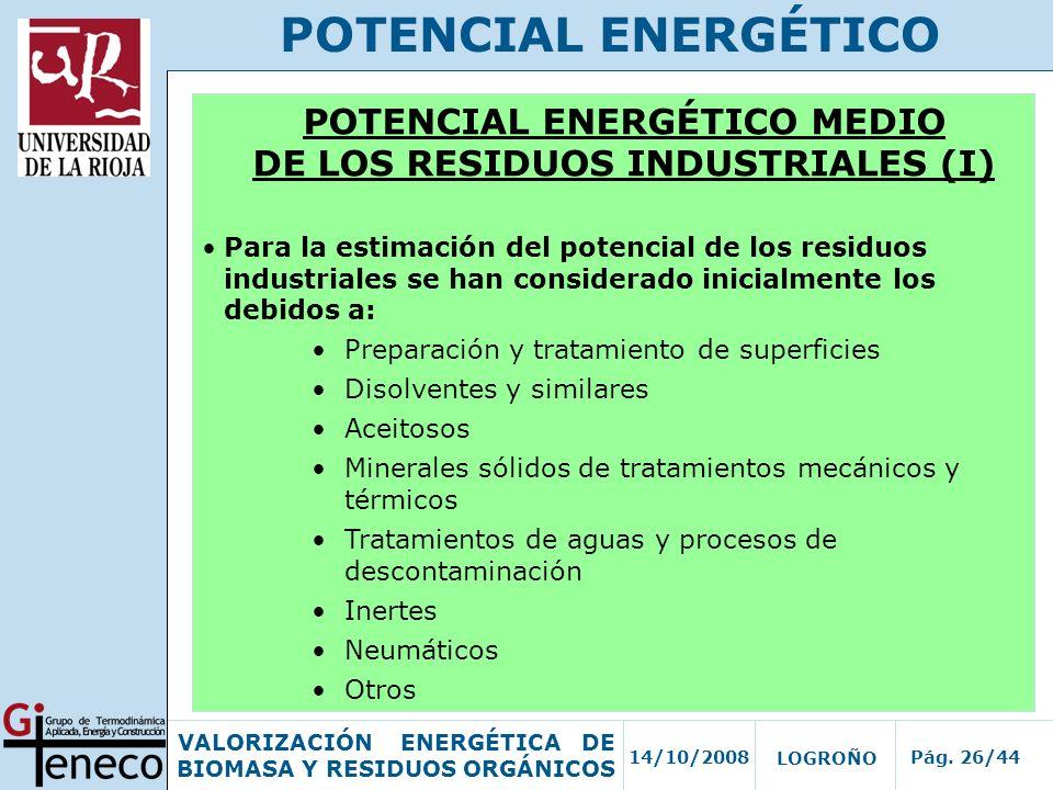 POTENCIAL ENERGÉTICO MEDIO DE LOS RESIDUOS INDUSTRIALES (I)