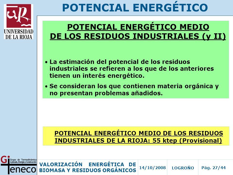 POTENCIAL ENERGÉTICO MEDIO DE LOS RESIDUOS INDUSTRIALES (y II)