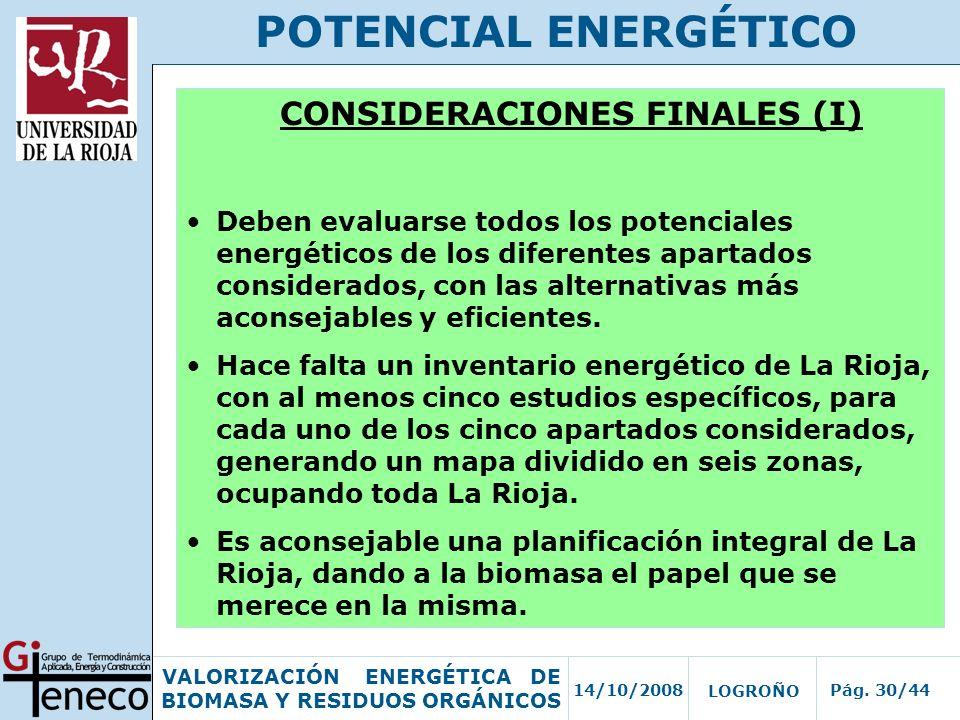 CONSIDERACIONES FINALES (I)