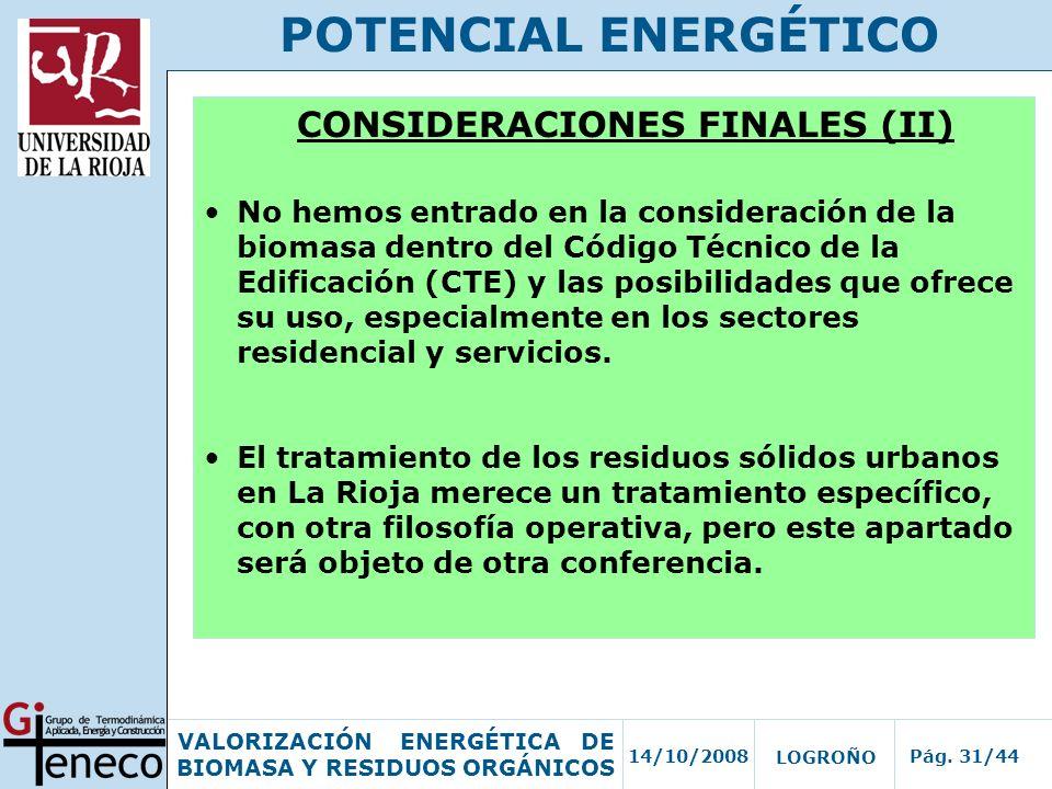 CONSIDERACIONES FINALES (II)