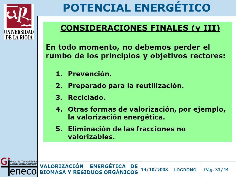 CONSIDERACIONES FINALES (y III)