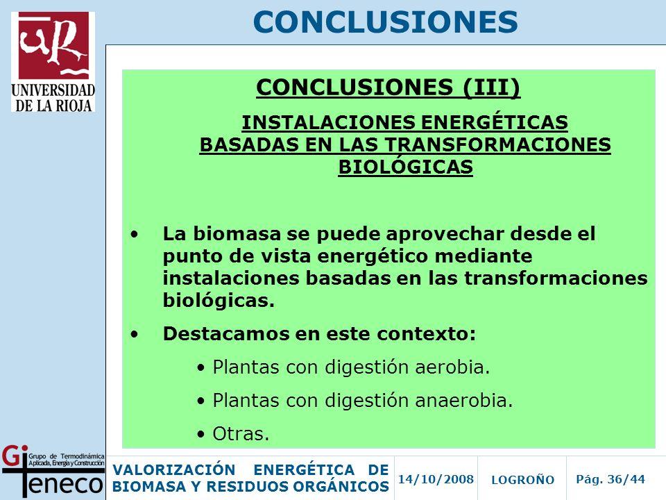 INSTALACIONES ENERGÉTICAS BASADAS EN LAS TRANSFORMACIONES BIOLÓGICAS
